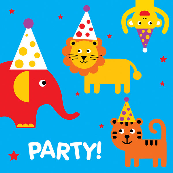 Zoo animals party card