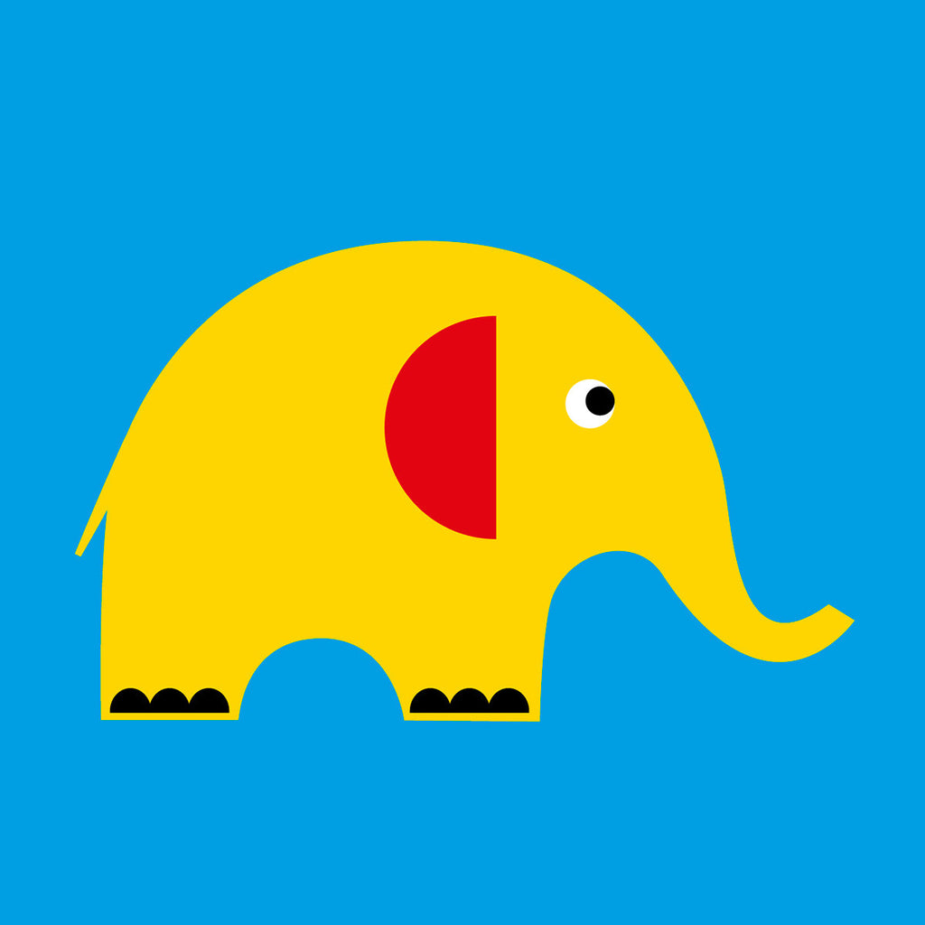Elephant on blue card