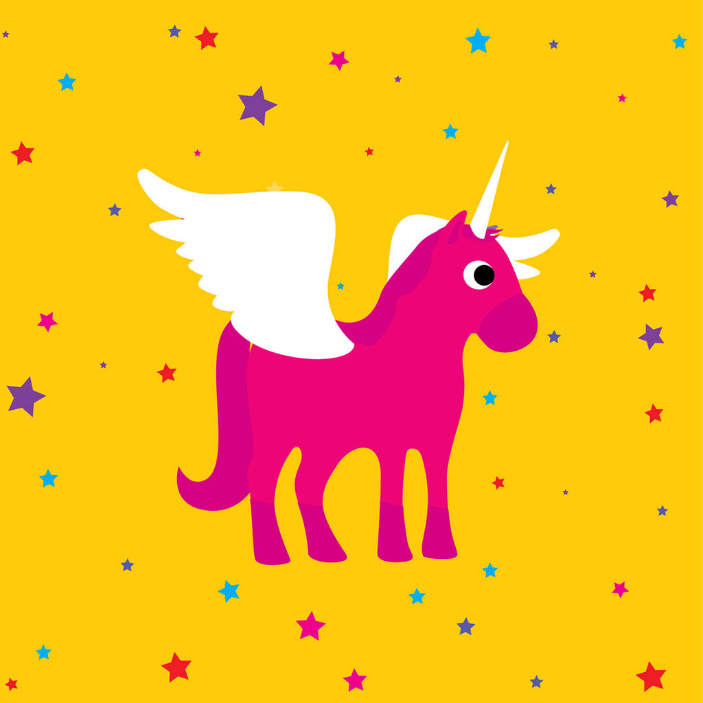 Unicorn with stars card