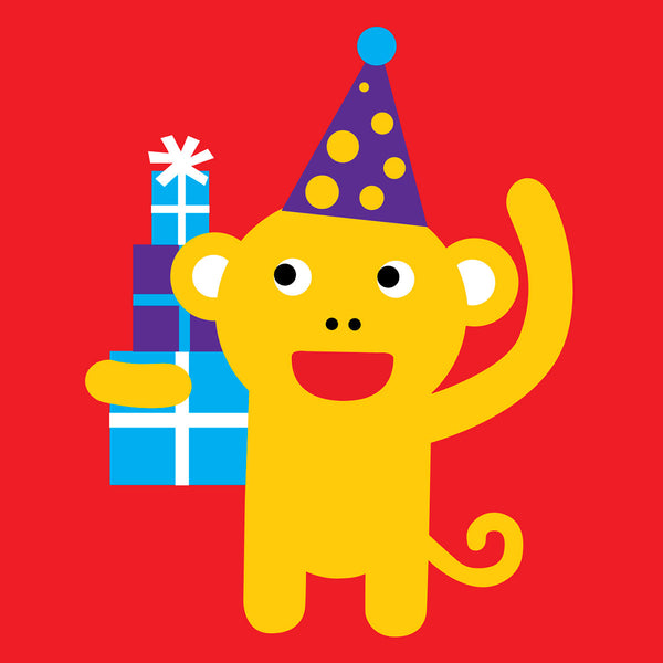 Monkey with presents card