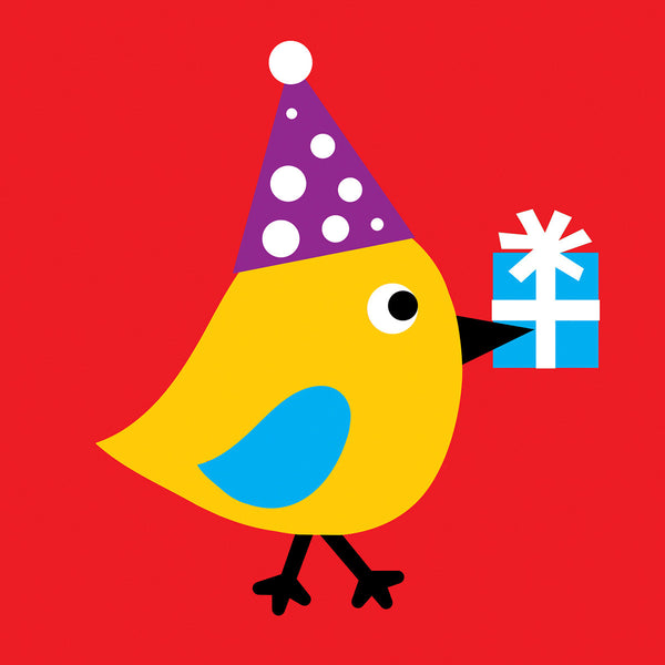 Bird with a present card