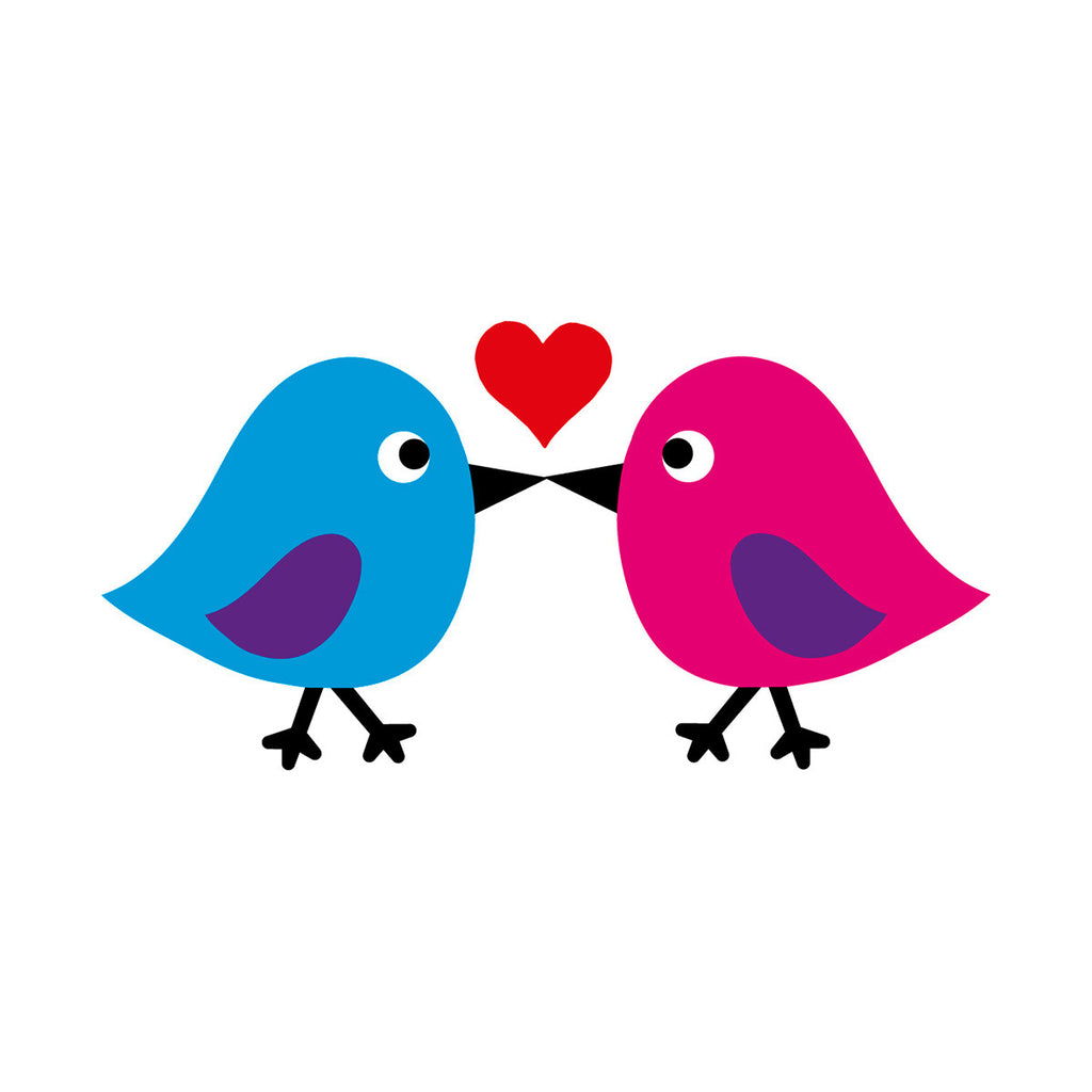 Birds kissing card