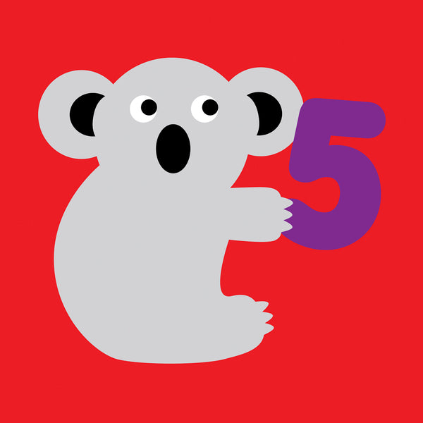 5 years old Koala Birthday card
