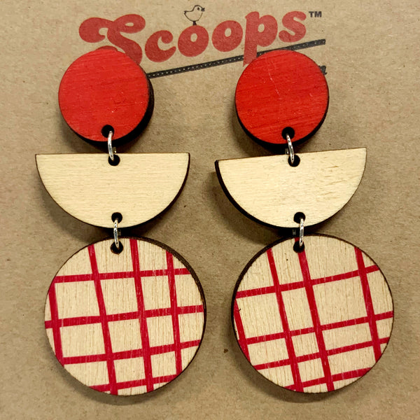 Triple layer earrings- red, wood, red lines