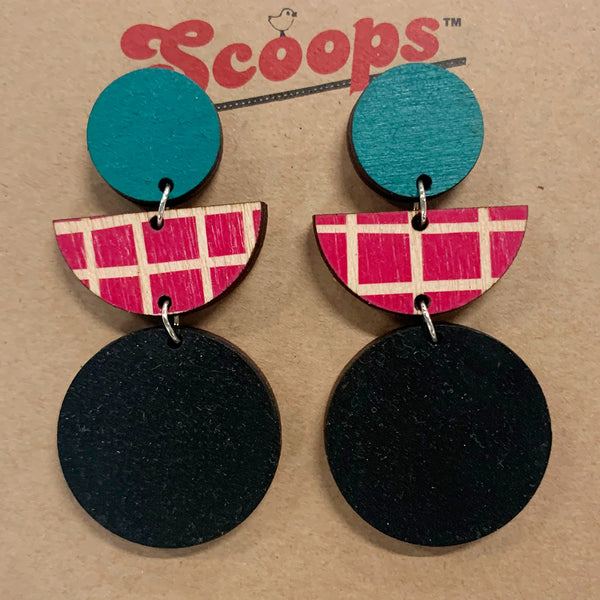 Triple layer earrings- teal, red lines, black