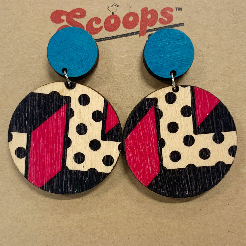 Double layer earrings- blue and Memphis