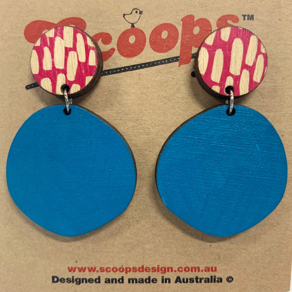 Double layer earrings- pink lines and blue