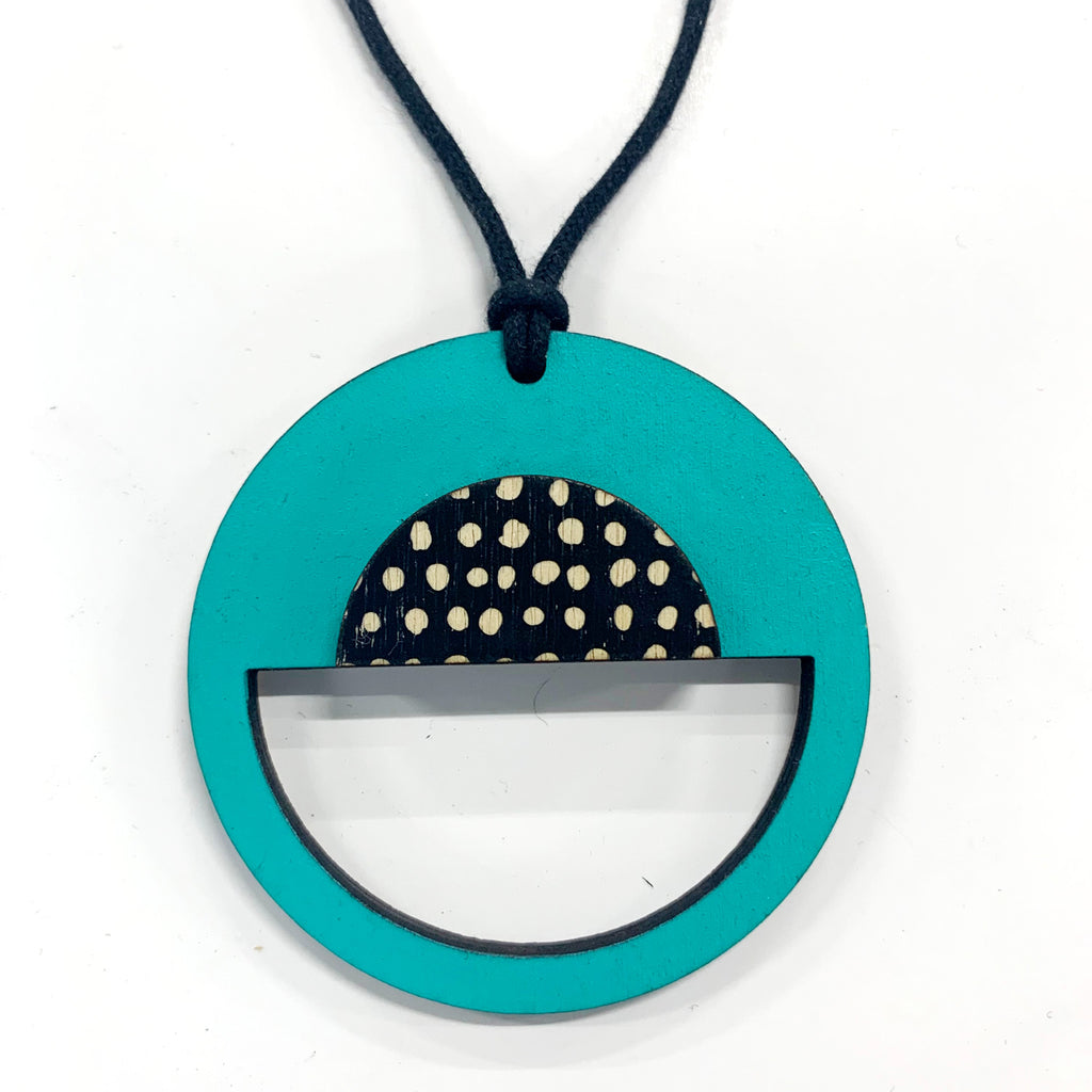 Circle Pendant with aqua and black spots