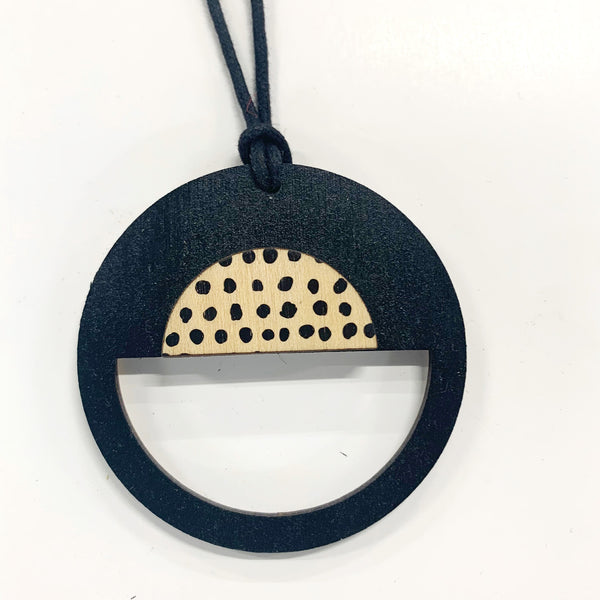 Circle Pendant in black and black spots