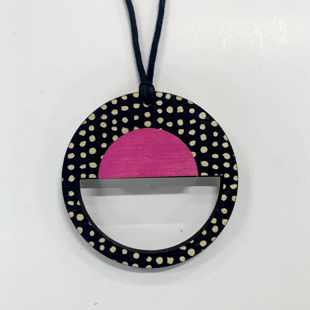 Circle Pendant in black spots and pink