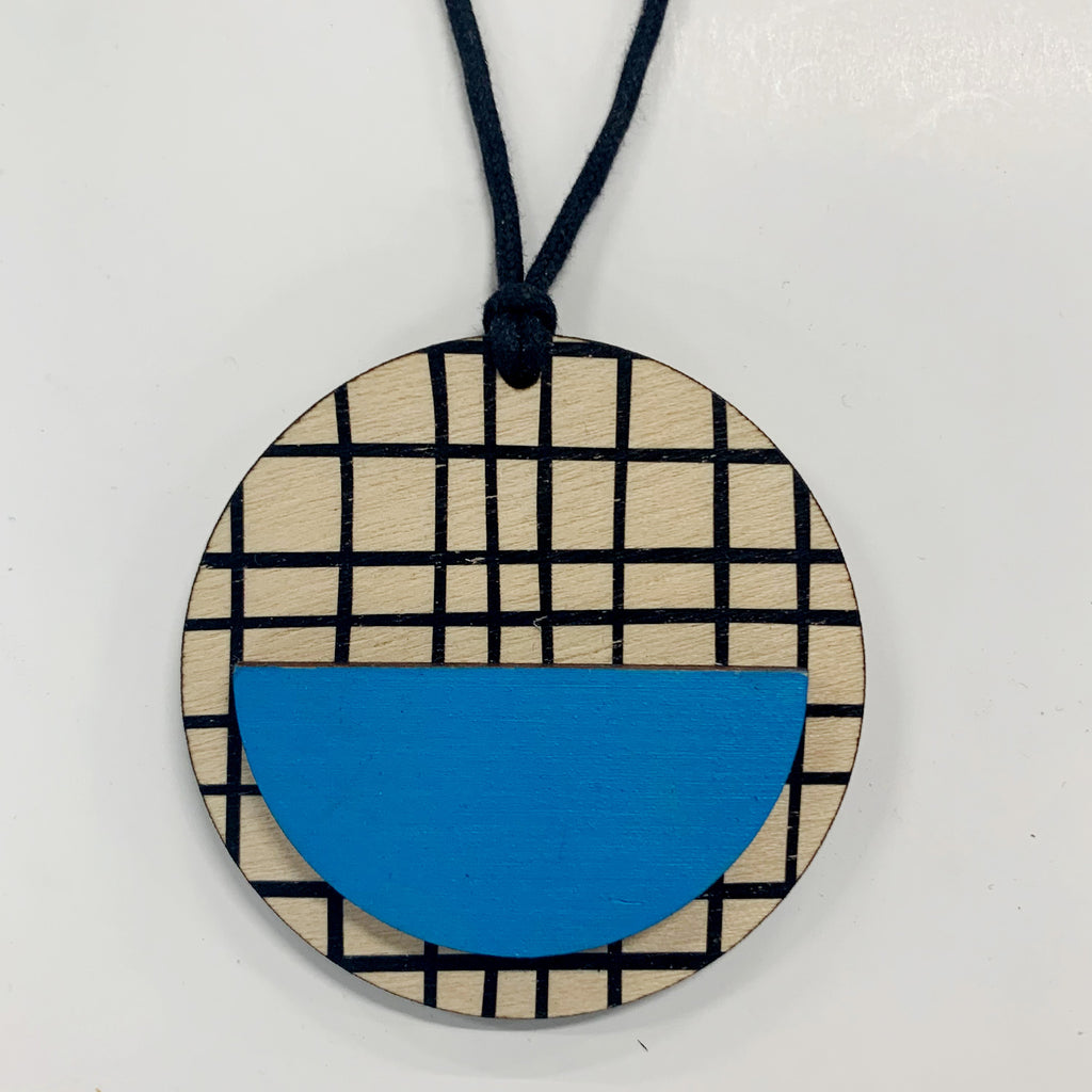 Circle Pendant with black crosses and blue