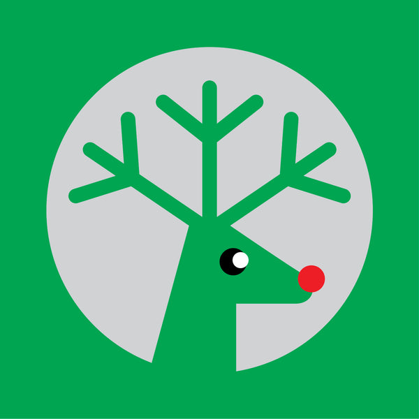 Silver reindeer on green Christmas card