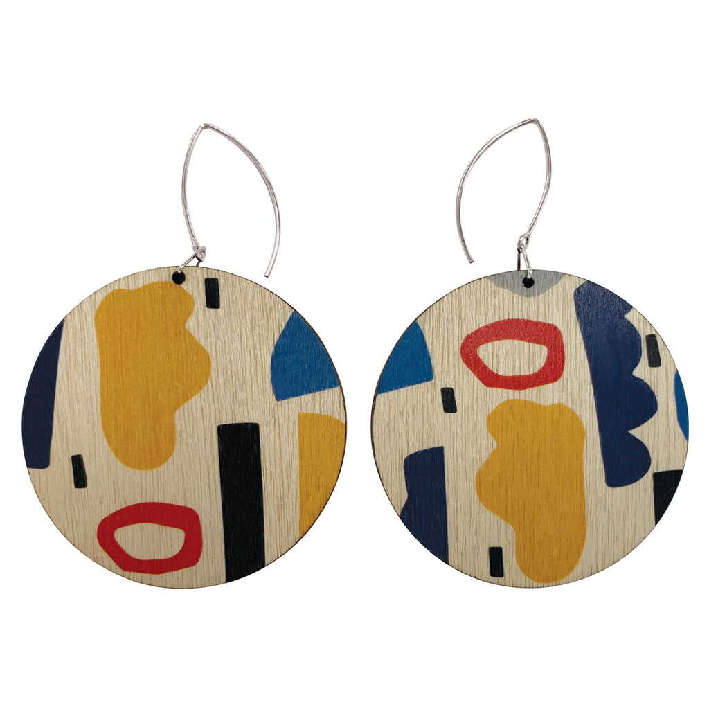 Abstract shapes wooden circle earrings