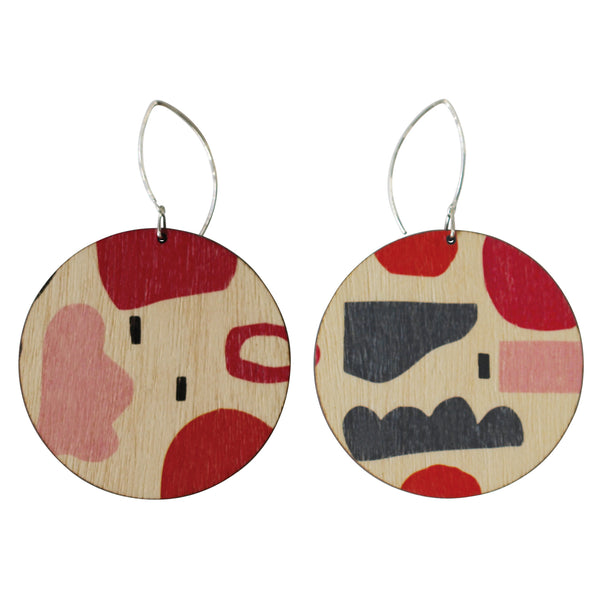 Abstract pattern in red and pink circle wood earrings