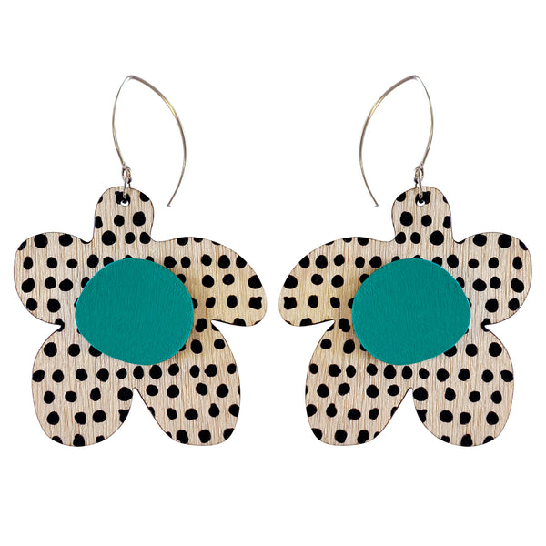 Spots pattern flower earrings
