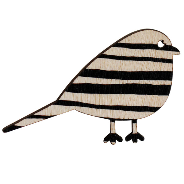 Black stripe bird brooch