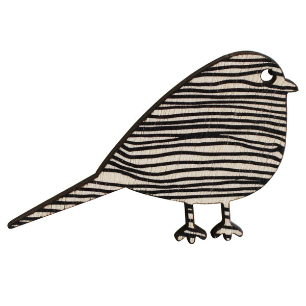 Black lines bird brooch