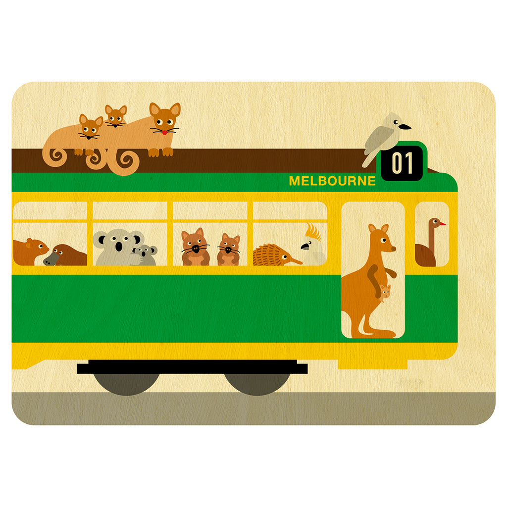 Melbourne tram with Australian animals wooden card