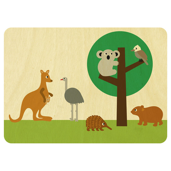Australian Animals wooden card