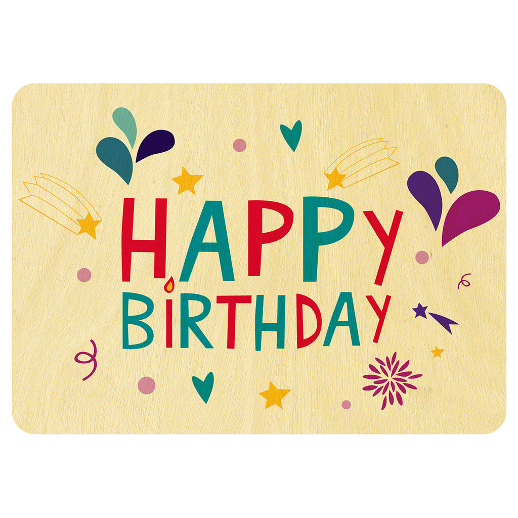 Happy Birthday fireworks wooden card