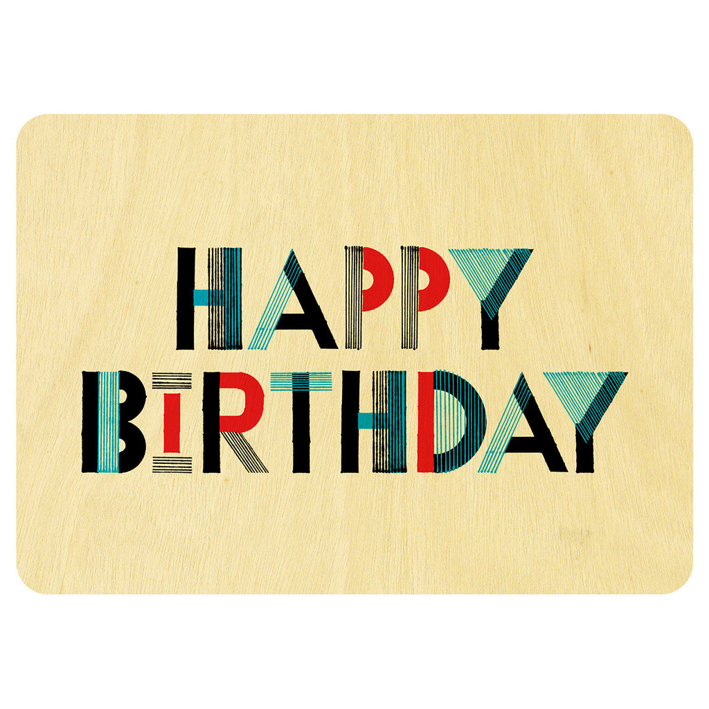 Happy Birthday cool type wooden card