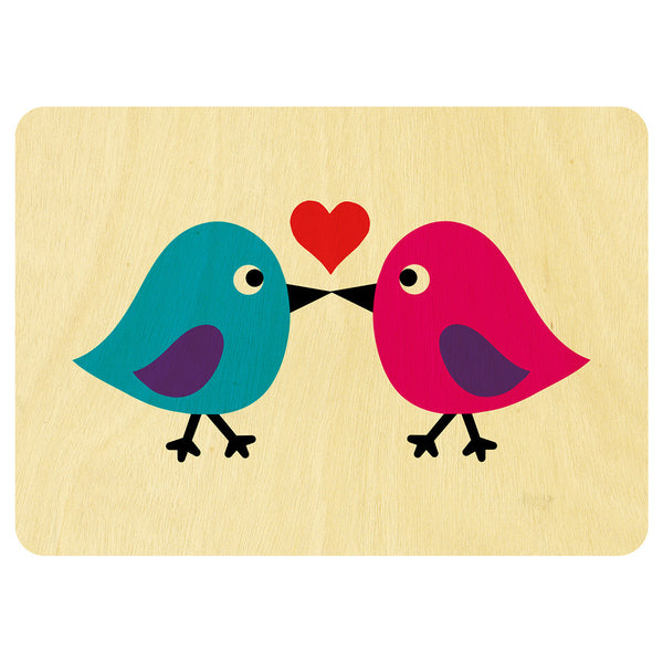 Kissing birds wooden card