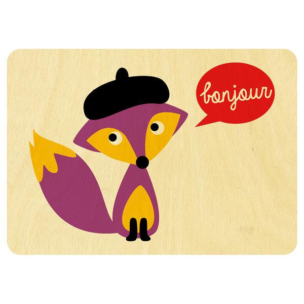 French Mr Fox wooden card