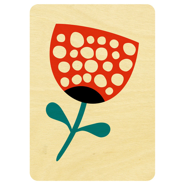 Red flower wooden card