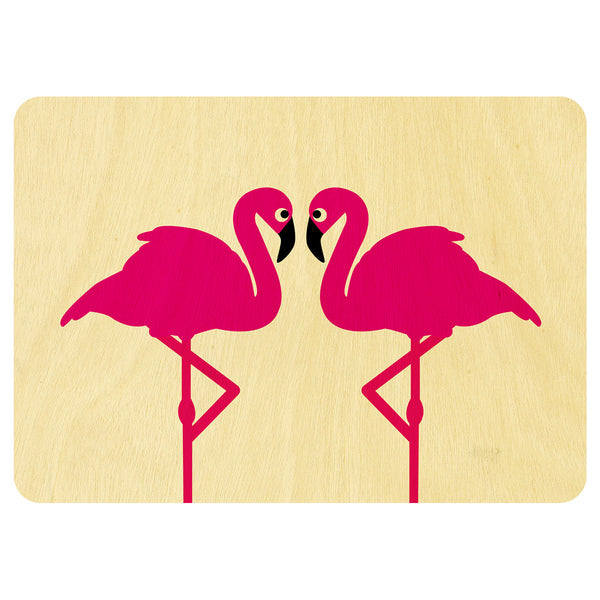 Two Flamingoes wooden card