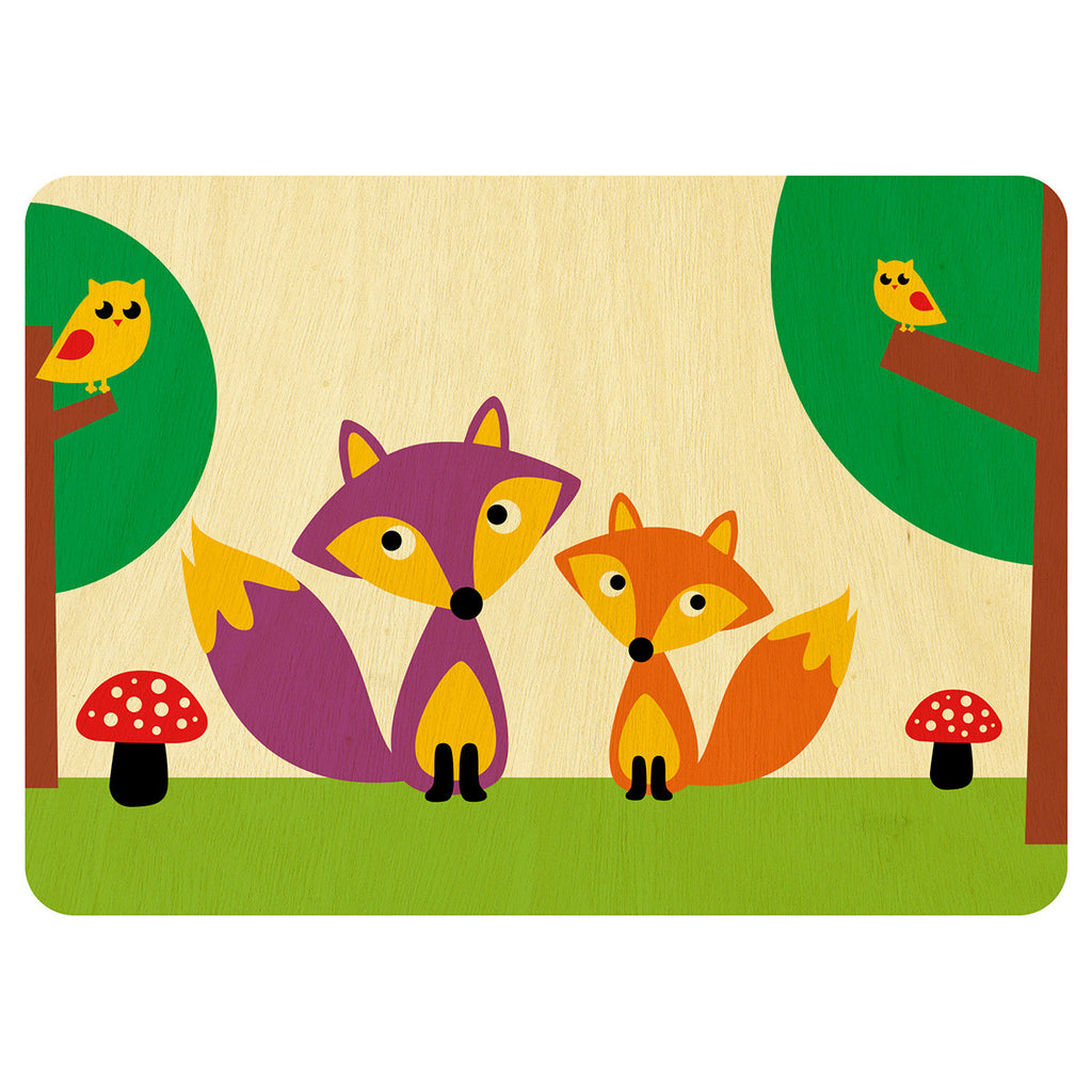 Mr and Mrs Fox wooden card