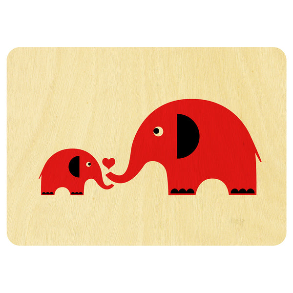 Elephant love wooden card