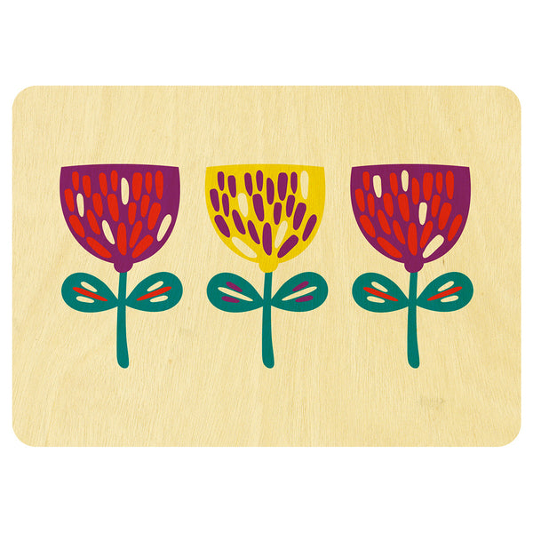 Three Nordic flowers wooden card