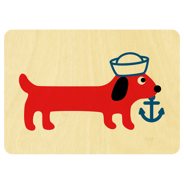 Sailing Sausage Dog wooden card