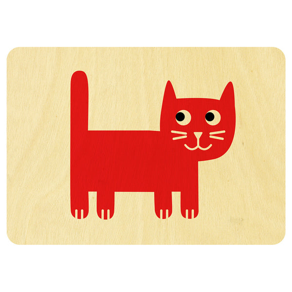 Happy Cat wooden card