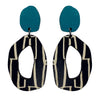 Teal city patterned wiggle earrings