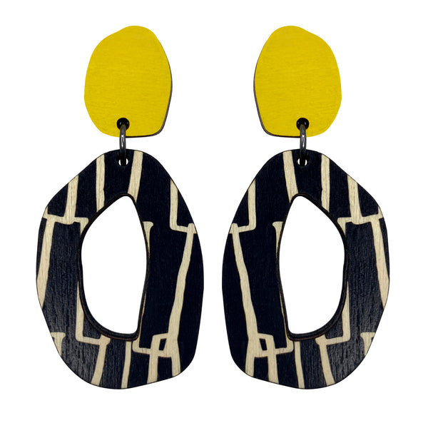 Yellow city patterned wiggle earrings