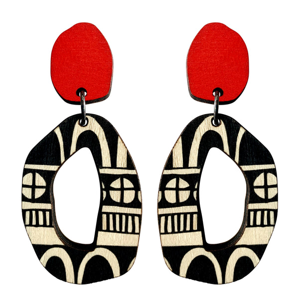 Wooden red doodle pattern statement earrings