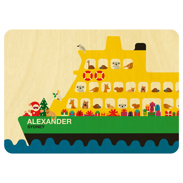 Sydney ferry tram with Australian animals Christmas wooden card