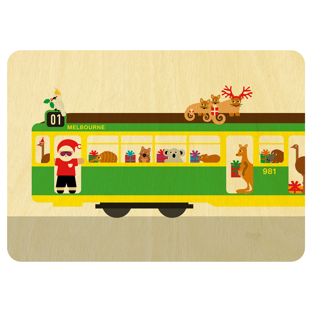 Melbourne tram with Australian animals Christmas wooden card