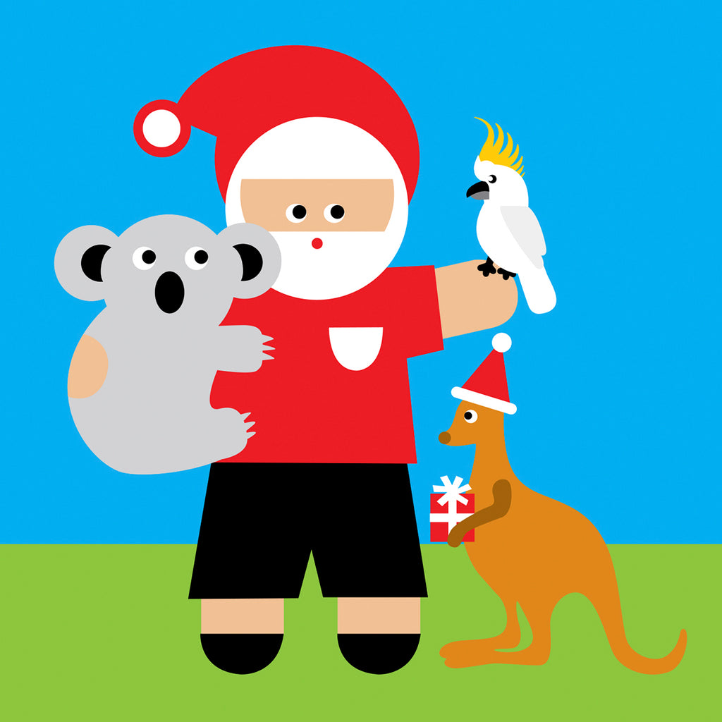 Santa with Australian animals Christmas card