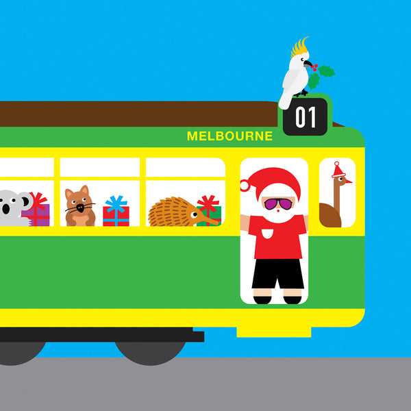 Melbourne tram with Australian animals Christmas card