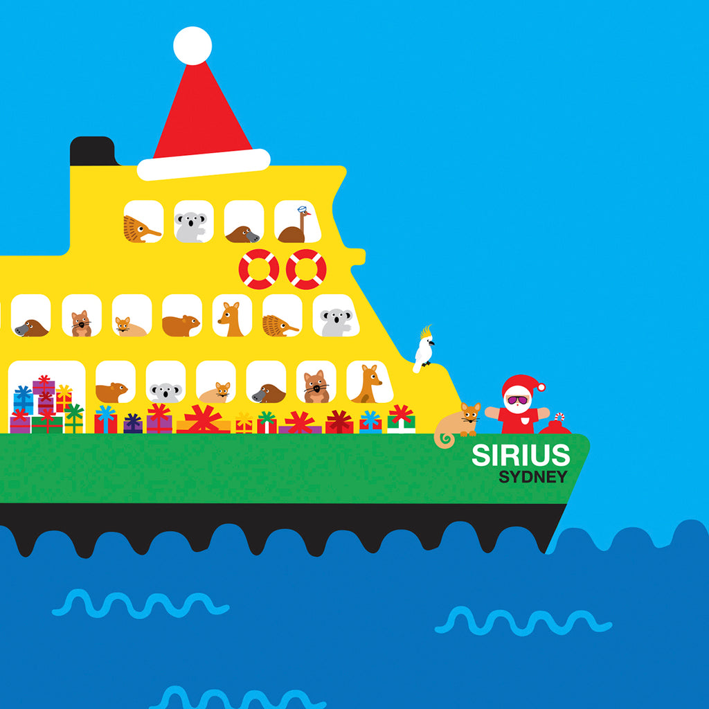 Sydney Ferry with Australian animals Christmas card