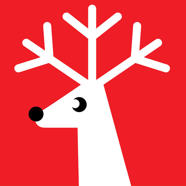 Red reindeer Christmas card