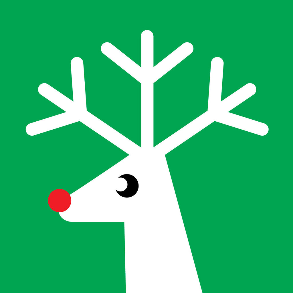 Green reindeer Christmas card