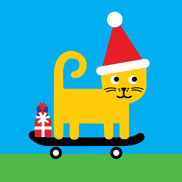 Skateboarding cat Christmas card