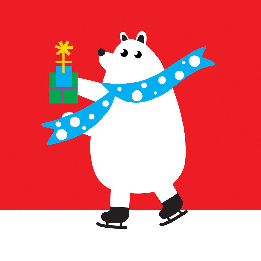 Ice skating Polar bear Christmas card