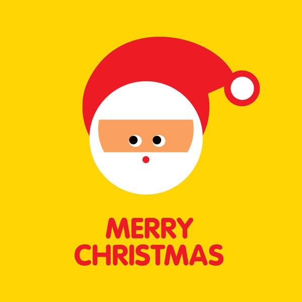 Santa on yellow Christmas card