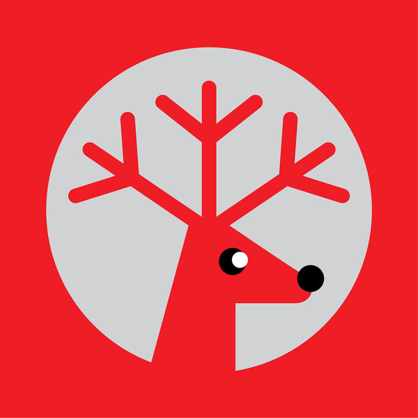 Silver reindeer on red Christmas card
