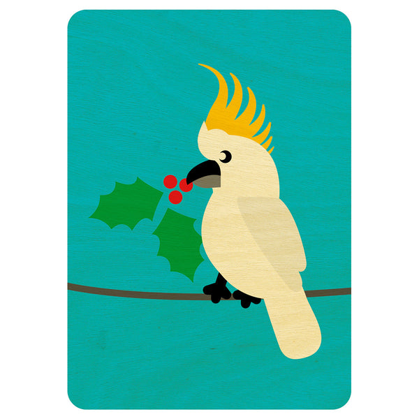 Cockatoo Christmas wooden card