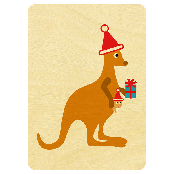 Kangaroo and joey Christmas wooden card